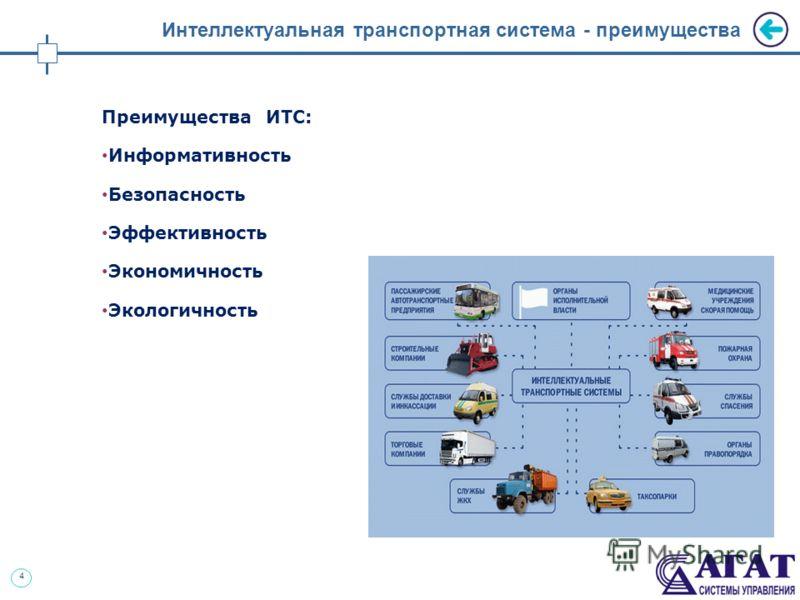 4 Интеллектуальная транспортная система - преимущества Преимущества ИТС: Информативность Безопасность Эффективность Экономичность Экологичность