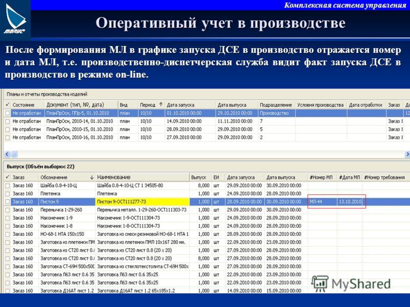Комплексная система управления Оперативный учет в производстве После формирования МЛ в графике запуска ДСЕ в производство отражается номер и дата МЛ, т.е. производственно-диспетчерская служба видит факт запуска ДСЕ в производство в режиме on-line.