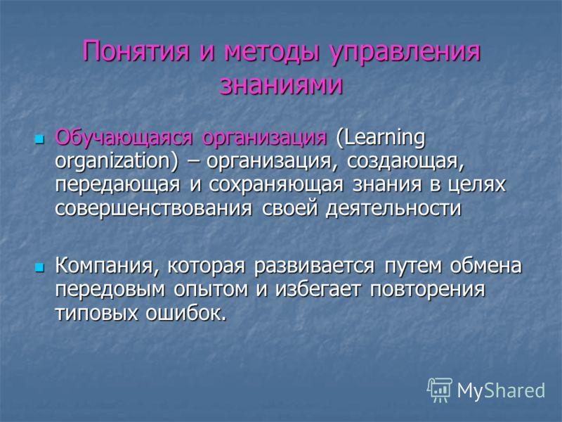 Понятия и методы управления знаниями Обучающаяся организация (Learning organization) – организация, создающая, передающая и сохраняющая знания в целях совершенствования своей деятельности Обучающаяся организация (Learning organization) – организация,