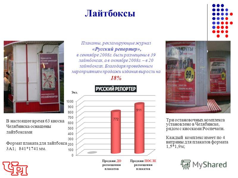 Лайтбоксы Плакаты, рекламирующие журнал «Русский репортер», в сентябре 2008г. были размещены в 39 лайтбоксах, а в октябре 2008г. – в 20 лайтбоксах. Благодаря проведенным мероприятиям продажи издания выросли на 18% Экз. Продажи ДО размещения плакатов