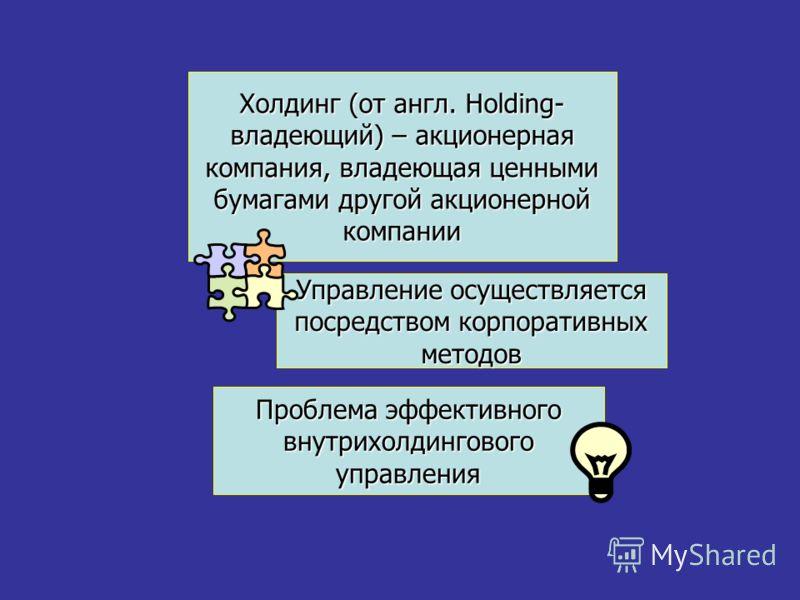 Холдинг (от англ. Holding- владеющий) – акционерная компания, владеющая ценными бумагами другой акционерной компании Проблема эффективного внутрихолдингового управления Управление осуществляется посредством корпоративных методов