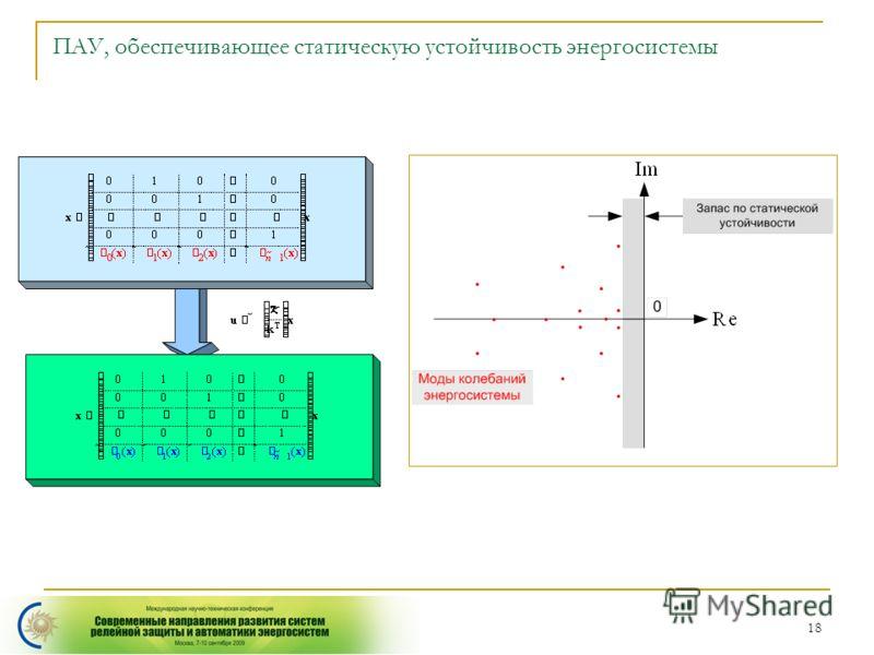 18 ПАУ, обеспечивающее статическую устойчивость энергосистемы