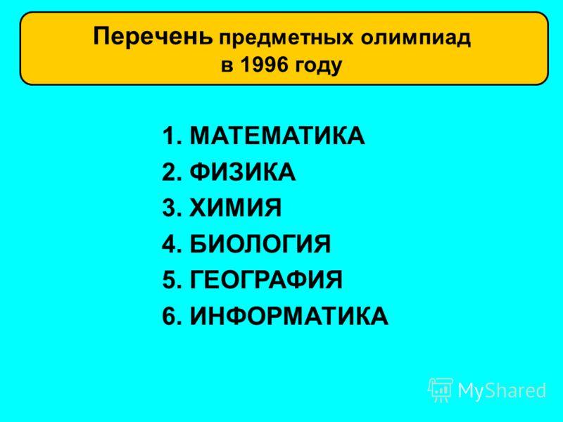 Перечень предметных олимпиад в 1996 году 1. МАТЕМАТИКА 2. ФИЗИКА 3. ХИМИЯ 4. БИОЛОГИЯ 5. ГЕОГРАФИЯ 6. ИНФОРМАТИКА