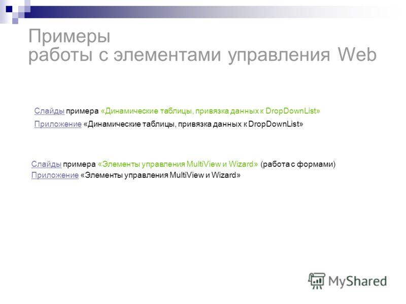 Приложение Приложение «Динамические таблицы, привязка данных к DropDownList» Примеры работы с элементами управления Web СлайдыСлайды примера «Динамические таблицы, привязка данных к DropDownList» СлайдыСлайды примера «Элементы управления MultiView и