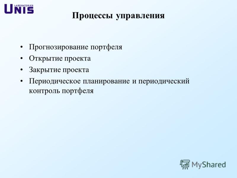 Прогнозирование портфеля Открытие проекта Закрытие проекта Периодическое планирование и периодический контроль портфеля Процессы управления