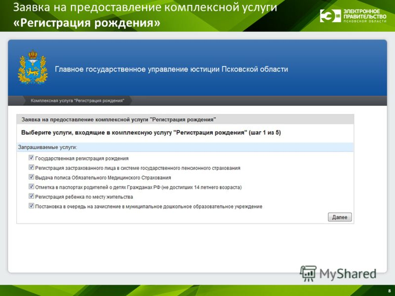 Заявка на предоставление комплексной услуги «Регистрация рождения» 8