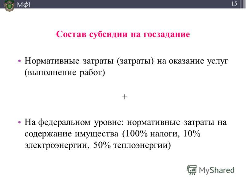 М ] ф 15 Состав субсидии на госзадание Нормативные затраты (затраты) на оказание услуг (выполнение работ) + На федеральном уровне: нормативные затраты на содержание имущества (100% налоги, 10% электроэнергии, 50% теплоэнергии)