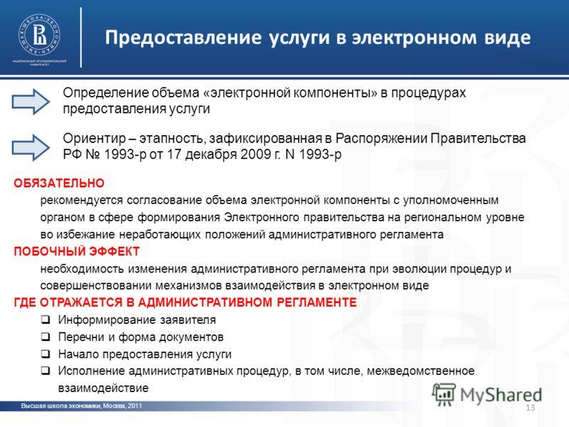 Высшая школа экономики, Москва, 2011 13 Предоставление услуги в электронном виде ОБЯЗАТЕЛЬНО рекомендуется согласование объема электронной компоненты с уполномоченным органом в сфере формирования Электронного правительства на региональном уровне во и