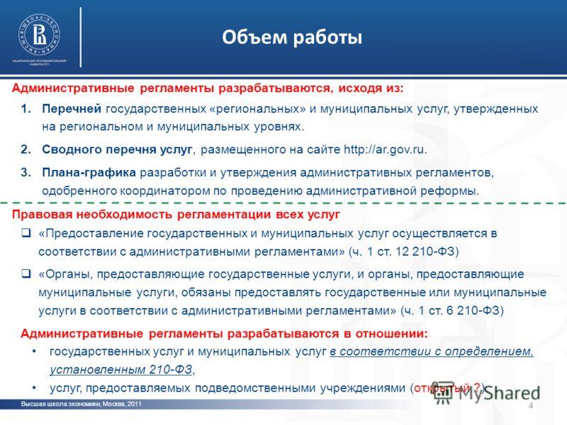 Высшая школа экономики, Москва, 2011 фото Административные регламенты разрабатываются, исходя из: 1.Перечней государственных «региональных» и муниципальных услуг, утвержденных на региональном и муниципальных уровнях. 2.Сводного перечня услуг, размеще