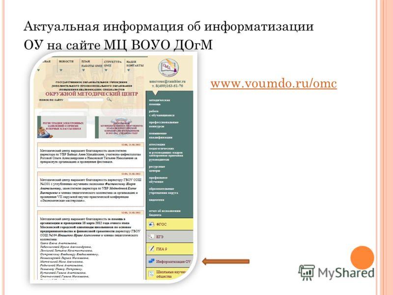 Актуальная информация об информатизации ОУ на сайте МЦ ВОУО ДОгМ www.voumdo.ru/omc