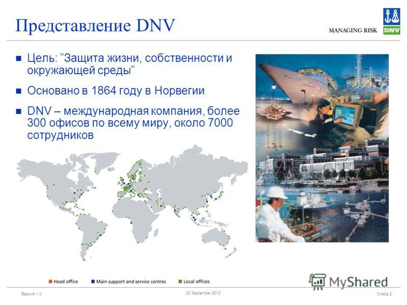 Версия 1.0 Слайд 2 20 September 2012 Представление DNV Цель: Защита жизни, собственности и окружающей среды Основано в 1864 году в Норвегии DNV – международная компания, более 300 офисов по всему миру, около 7000 сотрудников