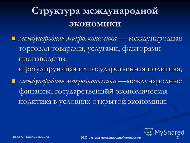 Глава 5. Экономика мира 12 30.Структура международной экономики Структура международной экономики международная микроэкономика международная торговля товарами, услугами, факторами производства и регулирующая их государственная политика; международная