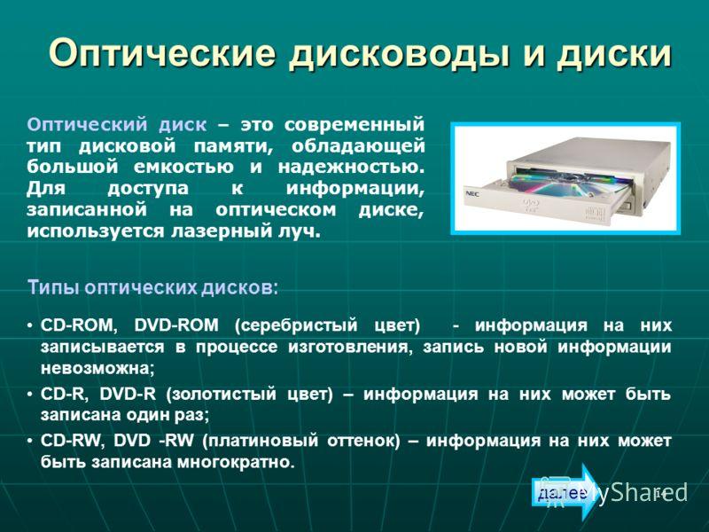 14 Оптические дисководы и диски Типы оптических дисков: CD-ROM, DVD-ROM (серебристый цвет) - информация на них записывается в процессе изготовления, запись новой информации невозможна; CD-R, DVD-R (золотистый цвет) – информация на них может быть запи