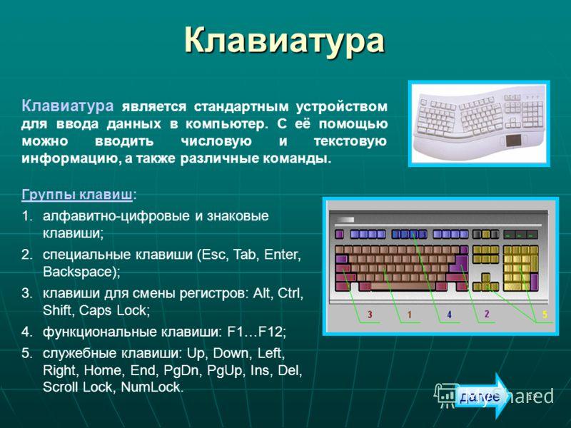 17 Клавиатура Клавиатура является стандартным устройством для ввода данных в компьютер. С её помощью можно вводить числовую и текстовую информацию, а также различные команды. Группы клавиш: 1.алфавитно-цифровые и знаковые клавиши; 2.специальные клави