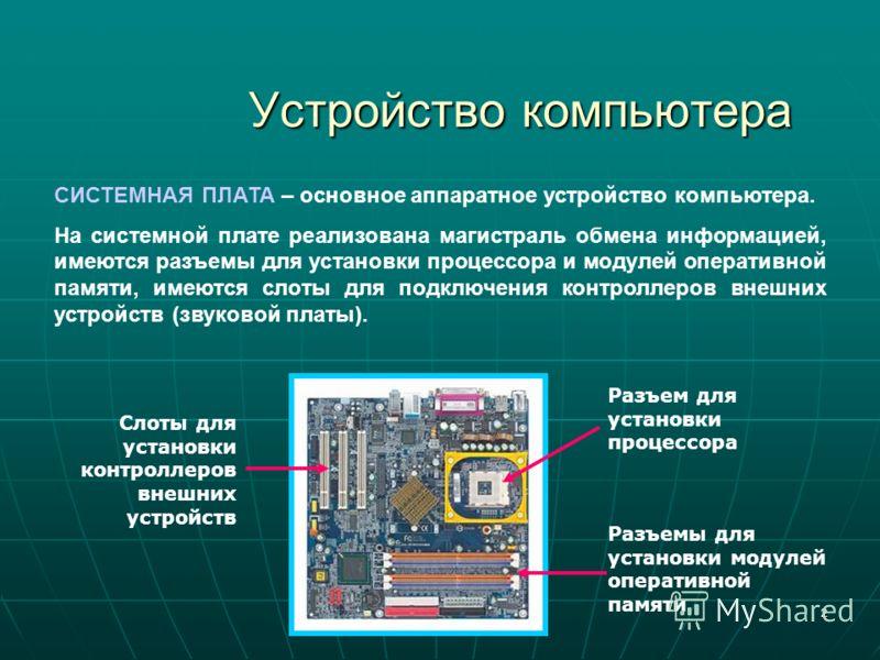 2 Устройство компьютера СИСТЕМНАЯ ПЛАТА – основное аппаратное устройство компьютера. На системной плате реализована магистраль обмена информацией, имеются разъемы для установки процессора и модулей оперативной памяти, имеются слоты для подключения ко