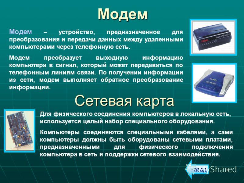 30Модем Модем – устройство, предназначенное для преобразования и передачи данных между удаленными компьютерами через телефонную сеть. Модем преобразует выходную информацию компьютера в сигнал, который может передаваться по телефонным линиям связи. По
