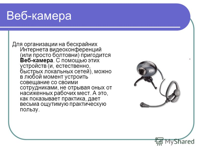 Веб-камера Для организации на бескрайних Интернета видеоконференций (или просто болтовни) пригодится Веб-камера. С помощью этих устройств (и, естественно, быстрых локальных сетей), можно в любой момент устроить совещание со своими сотрудниками, не от