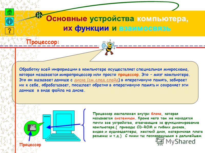 Основные устройства компьютера, их функции и взаимосвязь Устройства вывода информации: Главное устройство вывода информации компьютера – это монитор.( дисплей или экран ) Кроме мониторов, существуют незаменимые устройства для вывода информации на бум