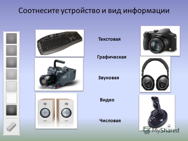 Соотнесите устройство и вид информации Текстовая Графическая Звуковая Видео Числовая