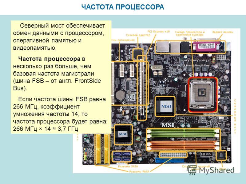 ЧАСТОТА ПРОЦЕССОРА Северный мост обеспечивает обмен данными с процессором, оперативной памятью и видеопамятью. Частота процессора в несколько раз больше, чем базовая частота магистрали (шина FSB – от англ. FrontSide Bus). Если частота шины FSB равна