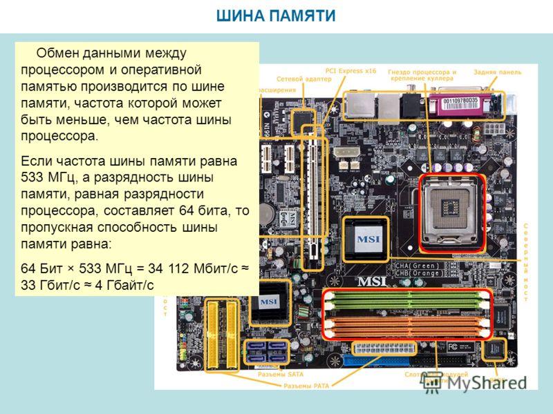ШИНА ПАМЯТИ Обмен данными между процессором и оперативной памятью производится по шине памяти, частота которой может быть меньше, чем частота шины процессора. Если частота шины памяти равна 533 МГц, а разрядность шины памяти, равная разрядности проце