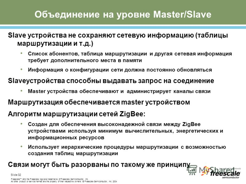 Slide 32 Freescale and the Freescale logo are trademarks of Freescale Semiconductor, Inc. All other product or service names are the property of their respective owners. © Freescale Semiconductor, Inc. 2004 Объединение на уровне Master/Slave Slave ус