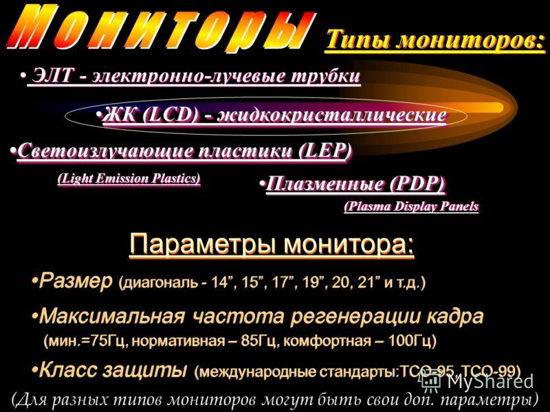 Типы мониторов: ЭЛТ - электронно-лучевые трубки ЭЛТ - электронно-лучевые трубки Плазменные (PDP)Плазменные (PDP) (Plasma Display Panels ПлазменныеПлазменные (PDP) (Plasma Display Panels ЖК (LCD) - жидкокристаллическиеЖК (LCD) - жидкокристаллические С