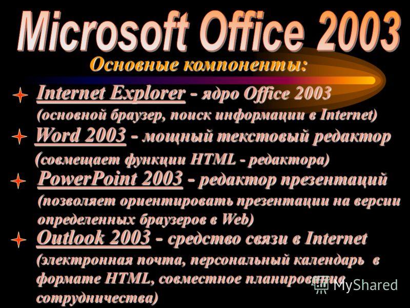 Основные компоненты: Internet Explorer - ядро Office 2003 (основной браузер, поиск информации в Internet) Word 2003 - мощный текстовый редактор ( совмещает функции HTML - редактора) PowerPoint 2003 - редактор презентаций (позволяет ориентировать през