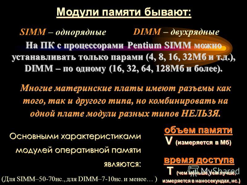 Модули памяти бывают: SIMM – однорядные DIMM – двухрядные На ПК с процессорами Pentium SIMM можно устанавливать только парами (4, 8, 16, 32Мб и т.д.), DIMM – по одному (16, 32, 64, 128Мб и более). Многие материнские платы имеют разъемы как того, так
