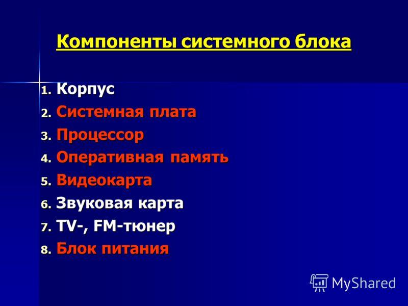 Компоненты системного блока 1. Корпус 2. Системная плата 3. Процессор 4. Оперативная память 5. Видеокарта 6. Звуковая карта 7. TV-, FM-тюнер 8. Блок питания