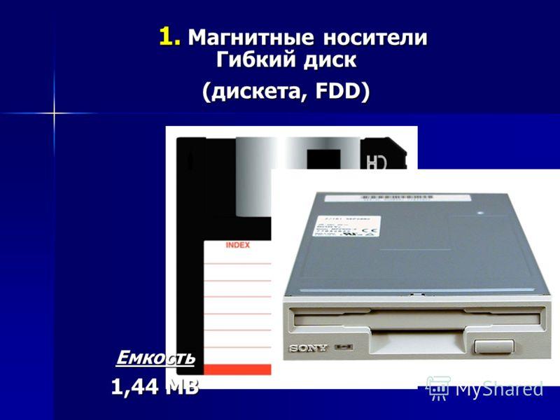 Гибкий диск (дискета, FDD) Емкость 1,44 MB 1. Магнитные носители