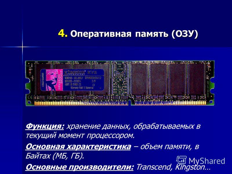 4. Оперативная память (ОЗУ) Функция: хранение данных, обрабатываемых в текущий момент процессором. Основная характеристика – объем памяти, в Байтах (МБ, ГБ). Основные производители: Transcend, Kingston…