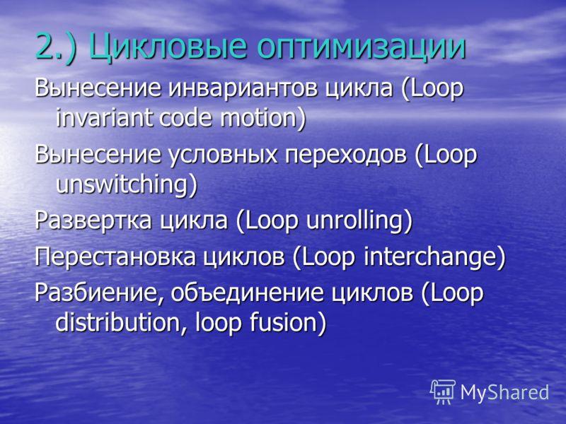2.) Цикловые оптимизации Вынесение инвариантов цикла (Loop invariant code motion) Вынесение условных переходов (Loop unswitching) Развертка цикла (Loop unrolling) Перестановка циклов (Loop interchange) Разбиение, объединение циклов (Loop distribution