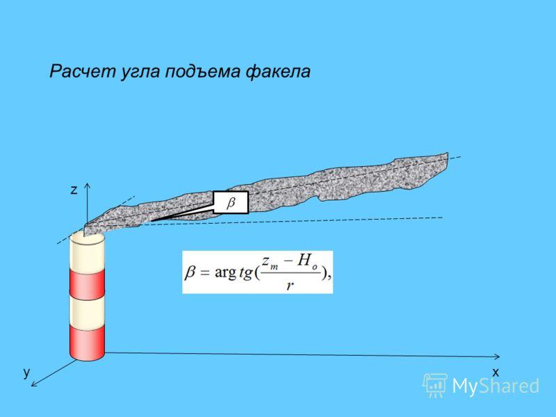 z xy Расчет угла подъема факела