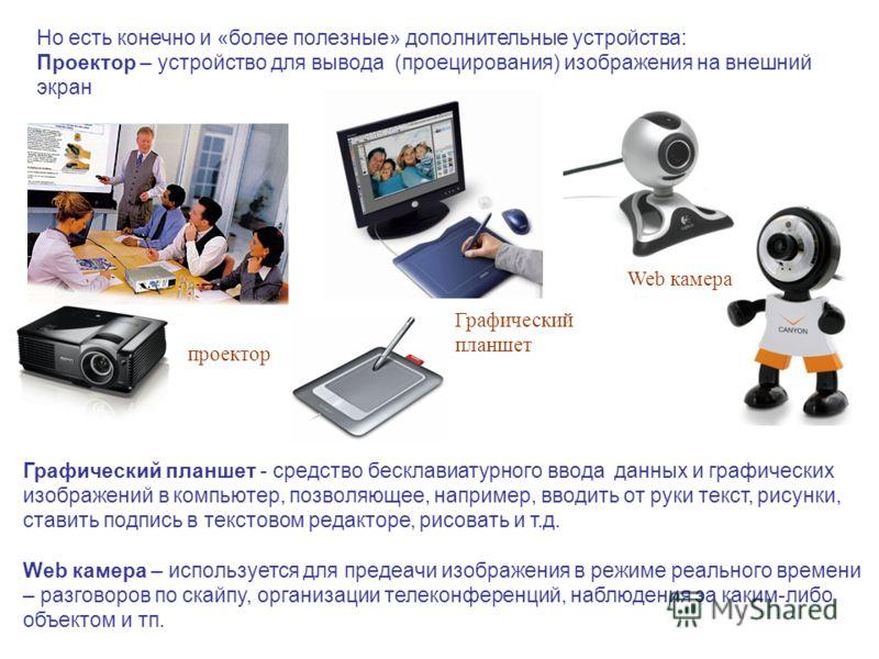 Но есть конечно и «более полезные» дополнительные устройства: Проектор – устройство для вывода (проецирования) изображения на внешний экран проектор Графический планшет Графический планшет - средство бесклавиатурного ввода данных и графических изобра