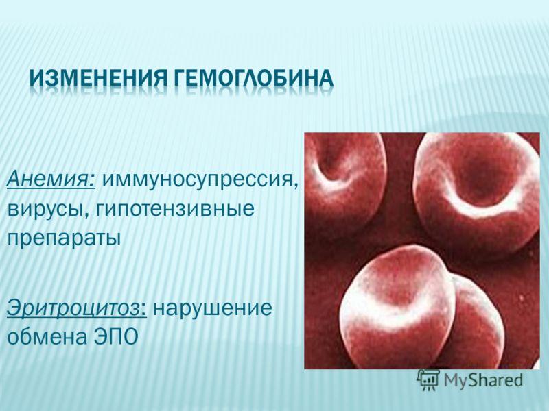 Анемия: иммуносупрессия, вирусы, гипотензивные препараты Эритроцитоз: нарушение обмена ЭПО