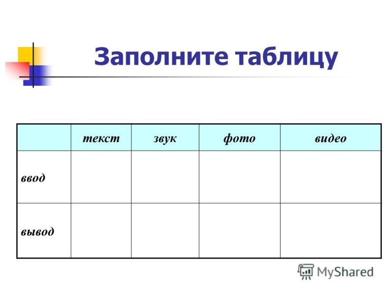 Заполните таблицу текстзвукфотовидео ввод вывод