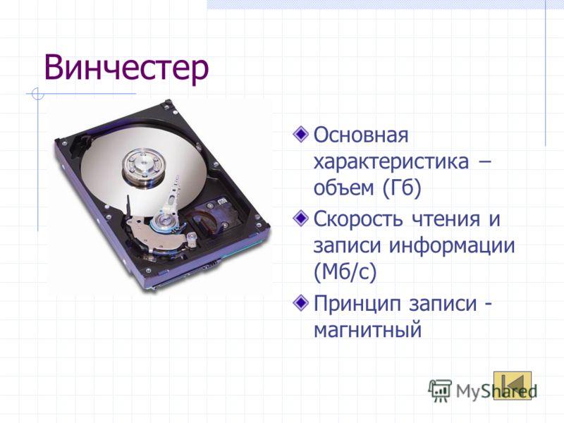 Винчестер Основная характеристика – объем (Гб) Скорость чтения и записи информации (Мб/с) Принцип записи - магнитный