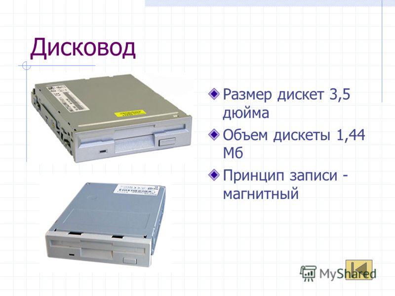 Дисковод Размер дискет 3,5 дюйма Объем дискеты 1,44 Мб Принцип записи - магнитный