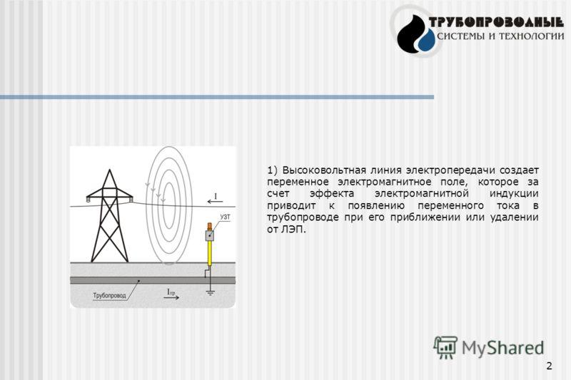 2 1) Высоковольтная линия электропередачи создает переменное электромагнитное поле, которое за счет эффекта электромагнитной индукции приводит к появлению переменного тока в трубопроводе при его приближении или удалении от ЛЭП.