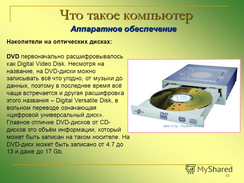 10 Что такое компьютер Аппаратное обеспечение Аппаратное обеспечение Накопители на оптических дисках: DVD первоначально расшифровывалось как Digital Video Disk. Несмотря на название, на DVD-диски можно записывать всё что угодно, от музыки до данных,