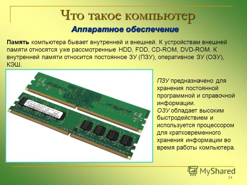 14 Что такое компьютер Аппаратное обеспечение Аппаратное обеспечение Память компьютера бывает внутренней и внешней. К устройствам внешней памяти относятся уже рассмотренные HDD, FDD, CD-ROM, DVD-ROM. К внутренней памяти относится постоянное ЗУ (ПЗУ),