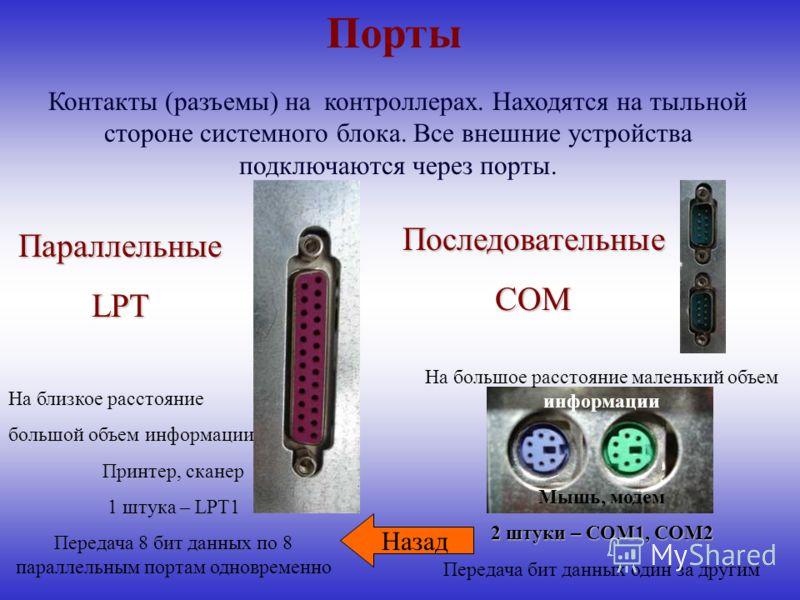 На большое расстояние маленький объем информации Мышь, модем 2 штуки – COM1, COM2 Передача бит данных один за другим Порты На близкое расстояние большой объем информации Принтер, сканер 1 штука – LPT1 Передача 8 бит данных по 8 параллельным портам од