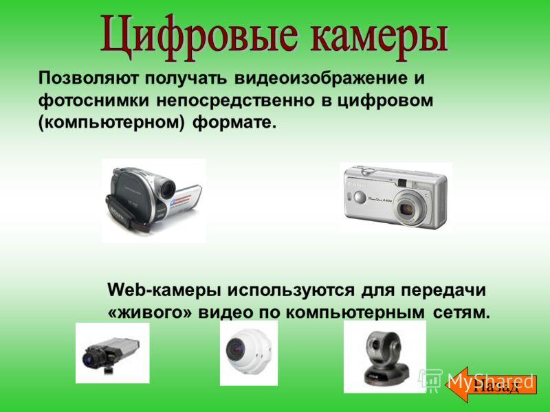 Позволяют получать видеоизображение и фотоснимки непосредственно в цифровом (компьютерном) формате. Web-камеры используются для передачи «живого» видео по компьютерным сетям. Назад