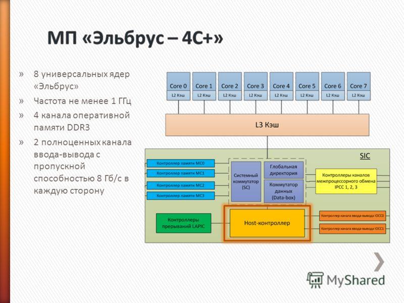 » 8 универсальных ядер «Эльбрус» » Частота не менее 1 ГГц » 4 канала оперативной памяти DDR3 » 2 полноценных канала ввода-вывода с пропускной способностью 8 Гб/с в каждую сторону