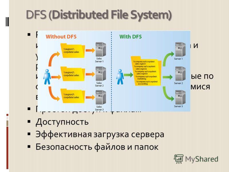 DFS (Distributed File System) Распределённая файловая система - используется для упрощения доступа и управления файлами, физически распределёнными по сети. При её использовании файлы, распределённые по серверам, представляются находящимися в одном ме