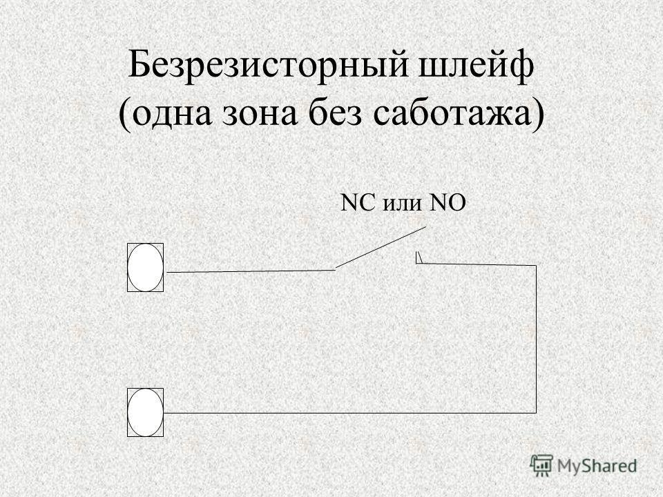 Безрезисторный шлейф (одна зона без саботажа) NC или NO
