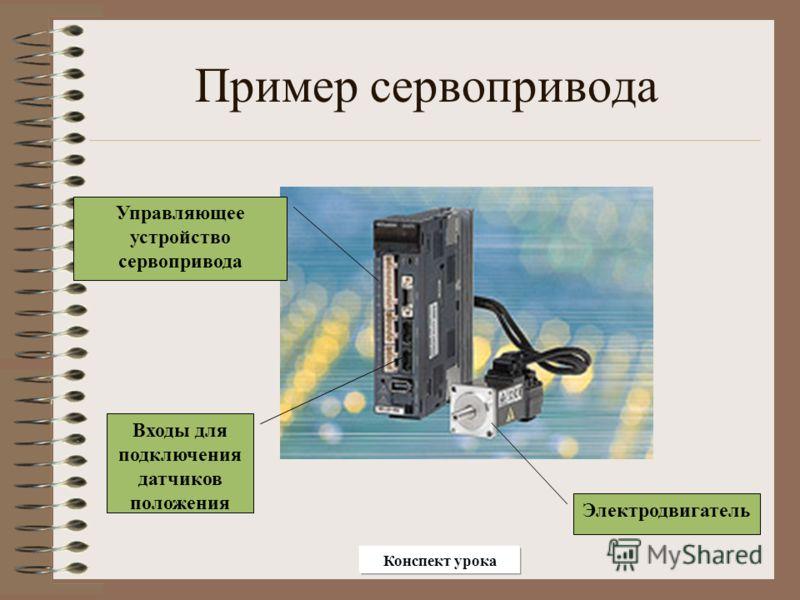 Пример сервопривода Управляющее устройство сервопривода Электродвигатель Входы для подключения датчиков положения Конспект урока