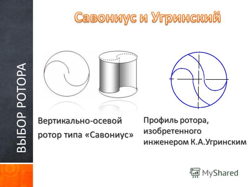 ВЫБОР РОТОРА Вертикально-осевой ротор типа «Савониус» Профиль ротора, изобретенного инженером К.А.Угринским