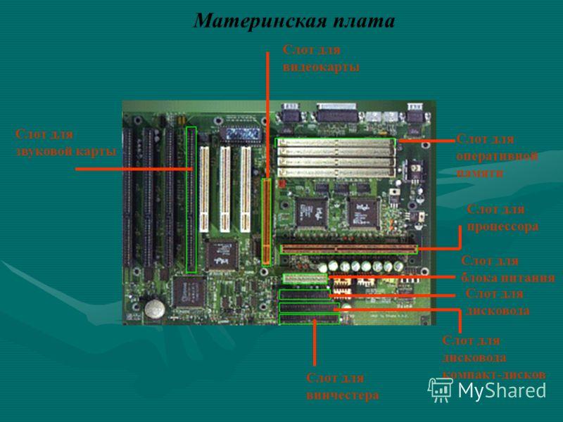 оперативной памяти Слот